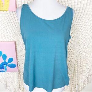 Eileen Fisher blue 100% silk sleeveless blouse L
